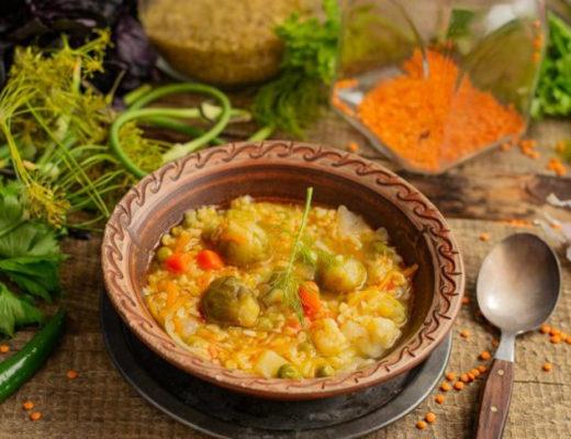 Овощной суп с булгуром и чечевицей — постный суп за полчаса