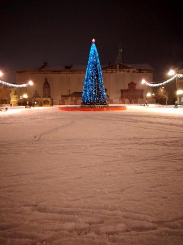 Новогодняя елка на Советской (Соборной) площади, зима 2020/2021 год (фото из архива сайта infoce-klin.ru)
